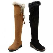 Winter Women's Boots Round Toe Over the Knee High Thigh Boot Comfy Flat Shoes D
