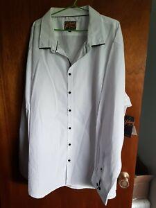 Mens Casual Dress Button Up Shirt Johnny Bigg Tarocash White Size 8XL XXXXXXXXL