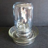 "Clear Glass Pint Canning Jar & Glass Base Chicken Feeder Water 6.75"" FREE SH"