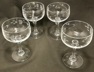 """Lot/4 Princess House Bordeaux Clear Champagne Tall Sherbet Glasses 5 1/2"""""""