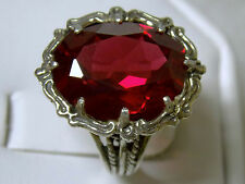 12ct red Ruby filigree antique 925 sterling silver ring size 8 USA