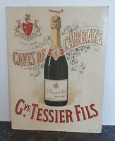 CAVES DE L'ABBAYE CARTON PUBLICITAIRE ANCIEN G.TESSIER FILS Illustration:SIDAINE