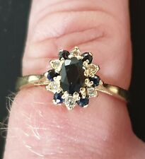 9k solid yellow gold vintage sapphire and diamond cluster ring