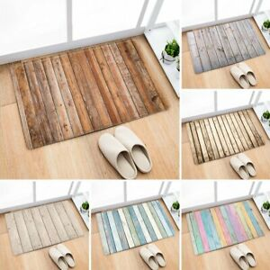 Wooden Plank Flannel Anti-Slip Rug Kitchen Bath Bathroom Shower Floor Door Mat