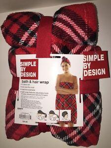 SIMPLE BY DESIGN 2-Pc Set  Bath & Hair Wrap RED/WHITE/BLACK PLAID One Size NWT