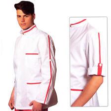 Camice da Lavoro UOMO,modello giacca, Collo Coreano, Inserti Rossi , Gastronomia