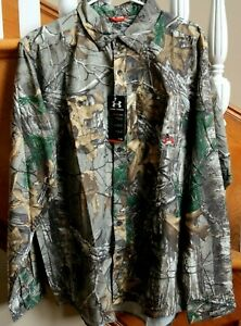 New $80 Under Armour Chesapeake Camouflage Camo Shirt REALTREE Men L XL Hunting