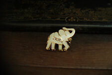 Tiny Cream Enamel Elephant Brooch Pin with Tiny Clear Crystals Gold Plated