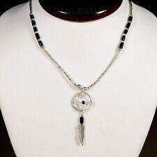 "Liquid Sterling Silver BLACK ONYX Dream Catcher Southwestern Choker 16"" Necklace"