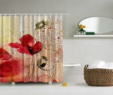 Red Poppies Garden Poppy Blossoms Bouquet Shower Curtain Extra Long 84 Inch