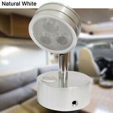 12V Silver LED Reading Light Boats RV Trucks Interior Bedside Lamp Natural White