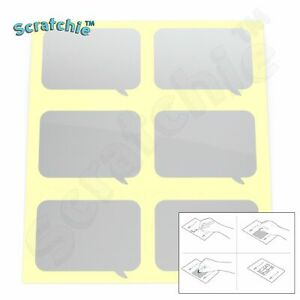 Scratchie   Scratch off Stickers   Silver Speech Bubble 45x65mm   6 Pack   BS65