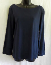 Jones New York Knit Top Size M NWT Navy 100% Cotton Long Sleeves Boat Neck Vents