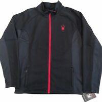 Spyder Mens Size Large Black Red Trim Core Full Zip Sweater Jacket