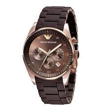 Emporio Armani AR5891 Ladies Rose Gold Brown Silicon Rubber Chrono Watch SALE!