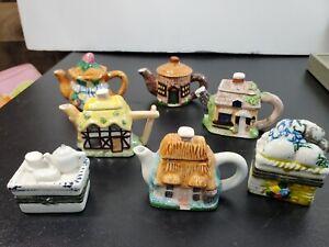 Vintage Miniature Ceramic Teapots Cottages Trinkets Doll House Children's Party