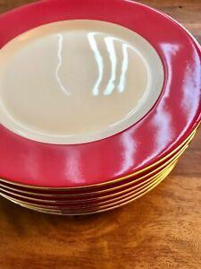 6 x Porcelain Crate & Barrel ~ Gold Rimmed Side Plates