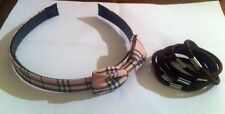 Tartan pink alice band with bow + 7 brown hair bands