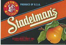 STADELMAN'S, Yakima, Washington ~AN ORIGINAL PEAR CRATE LABEL~