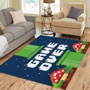 Super Mario Game Over Fluffy Rug Anti-Skid Area Rug Living Room Carpet Floor Mat