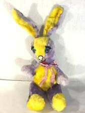 """Vtg Yellow Lavender Expert Toy USA Plush Easter Bunny Rabbit Doll Wire Ears 24""""H"""