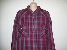 MENS BRIGALOW LS WESTERN STYLE SHIRT 100% COTTON MAROON/GREY CHECK SIZE XL