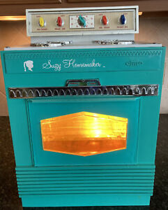 Vtg Original 1966 Suzy Homemaker Oven/Stove Teal Mid Century Topper Toy Works!