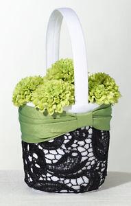 Lillian Rose Flower Basket, Ring Pillow, Garters & Guest Book (Green & Black)...