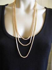"$18 Carole Triple 3-Strand Layered Mesh Goldtone Metal Chain Necklace 28""+ Long"