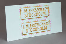 2 SMALL ERICSSON STOCKHOLM  WATER SLIDE DECAL for TELEPHONE RESTORATION!