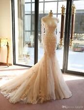 Elegant Mermaid Lace Wedding Dresses Pink Wedding GownSweetheart Neckline custom