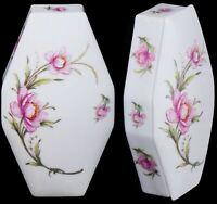 "Limoges France LEC (LeClair) Floral Pink Coffin Trinket Jewelry Box Decor 6-3/4"""