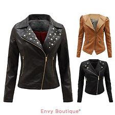 Waist Length Faux Leather Coats & Jackets for Women