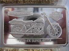 1.4-OZ.999 PURE SILVER 1971 FX SUPER GLIDE HARLEY DAVIDSON 90TH ANNIV BAR + GOLD