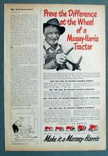 Original 1950 Tractor Ad EXPERIENCE AT THE WHEEL OF A  MASSEY HARRIS TRACTOR