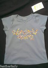Vertbaudet girls childs SLATE BLUE FLORAL PRINT MOTIF COTTON t shirt uk 4 5 yrs