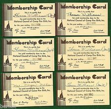 VINTAGE CAMP FIRE GIRL - 1938-45 GARDIAN MEMBERSHIP CARDS - NOT SCOUT