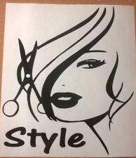 Grande fille cheveux style coupe salon coiffeurs shop fenêtre vinyle autocollant wall art
