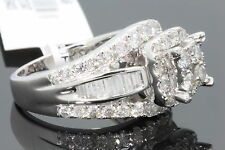 10K WHITE GOLD 2.83 CT WOMEN REAL DIAMOND ENGAGEMENT RING WEDDING RING BRIDAL