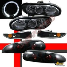 1998-2002 Chevy Camaro Black Halo Headlights w/ Bumper + Tail Lights Dark Smoke