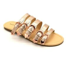 Katy Perry Womans Nikki Strappy Slide Sandal Sz 6.5 Rose Gold Cushioned NEW