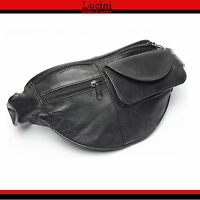 Real Leather Bum Waist Bag Travel Holiday Money Belt Pouch Black Change Bumbag1