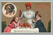 Thanksgiving Greetings~Antique African-American Cook? 930 Black Americana 1909