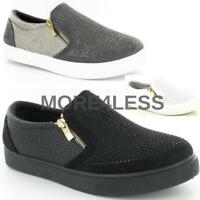 Womens Ladies Flat Slip On Plimsolls Pumps Skater Zip Trainers New Shoes Size