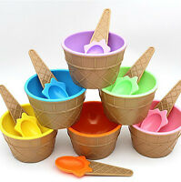 6PC kids Ice Cream Bowls Cute Colorful Cup Couples Bowl Gifts Dessert With Spoon