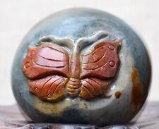 "6.2oz Natural Polychrome Ocean Jasper Stone Carved Butterfly Specimen 2.24"" 176g"