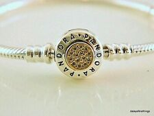NWT AUTHENTIC PANDORA BRACELET 2-TONE SIGNATURE W/14K #590741CZ MULTIPLE SIZE