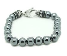 Blackjack Genuine Hematite Bracelet Stainless Steel Shiny Ball Bead Round Skull