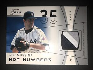 Mike Mussina jersey patch 2004 Flair Hot Numbers #'d /17 very rare short print