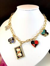 SANRIO MOMOBERRY ENAMEL RHINESTONE HELLO KITTY QUEEN OF HEARTS CHARM NECKLACE